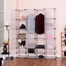 costway diy 16 8 cube portable clothes wardrobe cabinet closet storage organizer w doors com