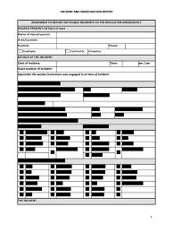 Workplace Accident Report Form Template