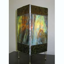custom made stained glass box lantern in mottled green