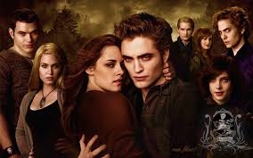 The Cullens as portrayed in New Moon: (from left) Nikki Reed (Rosalie),  Elizabeth Reaser (Esme), Peter Facinelli (Carlisle), Robert Pattinson  (Edward), ...