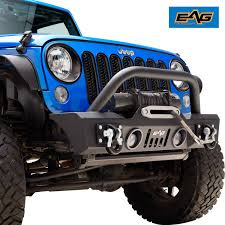 Jk Led Lights Eag Front Bumper With Led Lights Winch Plate For 07 18 Jeep Wrangler Jk