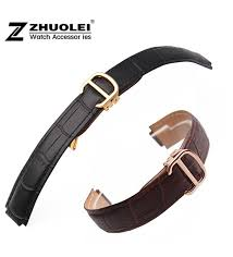 18mm 11mm watch lug red brown genuine leather watch band strap gold deployment buckle clasp fit cartier watchband