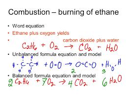 4 combustion burning of ethane word equation ethane plus oxygen yields carbon dioxide plus water unbalanced formula equation and model balanced formula