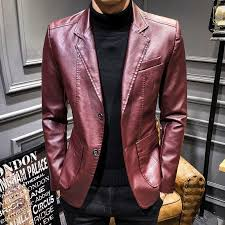 details about men s leather jacket fashion lapel casual blazer coat formal dress business tops