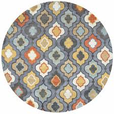 bradberry downs modern trellis round rug in blue grey orange white 8 x 8