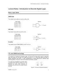 Digital Design Lecture Notes Lecture Notes Introduction To Discrete Digital Logic And