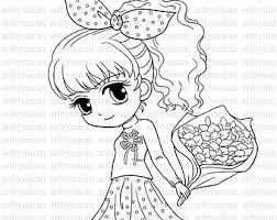 Small Picture Digital Stamp Star Pretty Girl Coloring page Big eyed girl