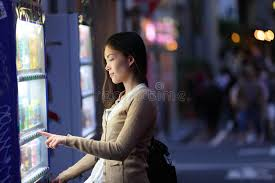 Female Vending Machine Delectable Japan Vending Machines Tokyo Woman Buying Drinks Stock Image