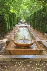 diminishing perspective of fountain in garden palma de mallorca majorca balearic islands spain europe