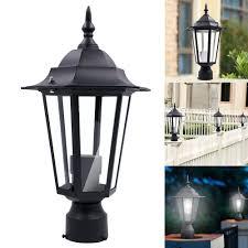 Lantern Pathway Lights Us 29 24 10 Off Outdoor Post Pole Light Led Lighthouse Shape Garden Patio Driveway Yard Lantern Lamp Black Courtyard Pathway Fence Post Light In