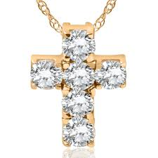 women s 1ct diamond cross pendant solid 14k yellow gold 18 chain included 0