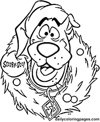 Scooby Doo Wreath Christmas Coloring Pages Pics For Cards Free
