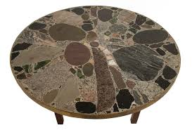 round stone top coffee table at your home decoration detail view
