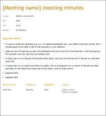 Minute Taking Templates Minute Taking Templates Meetings Sample Meeting Template Minute