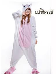 plus size footed pajamas plus size polar fleece white cat halloween costumes for women