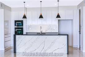 polished white and grey veined quartz countertops