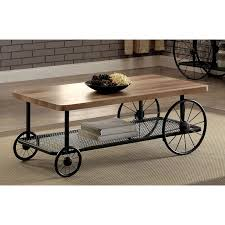 Furniture of America Ordenez Industrial Style Caster Wheel Coffee Table |  Hayneedle