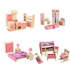 Kids dollhouse furniture Diy Dollhouse Image Unavailable Amazoncom Amazoncom Wooden Dollhouse Furniture Set Including Kitchen