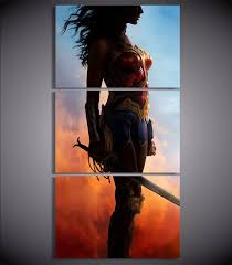 3 piece wall art painting movie poster and prints wonder woman painting canvas art pictures modern on wonder woman canvas wall art with 3 piece wall art painting movie poster and prints wonder woman