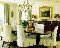 love the pleated slip cover chairs find this pin and more on dining room