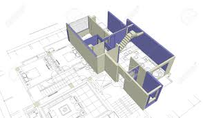 architecture blueprints 3d. Stock Photo - Unfinished 3D House Mock-up On Top Of Architecture Blueprints 3d U