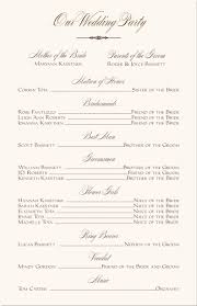 wedding party program templates free printable wedding programs templates wedding party