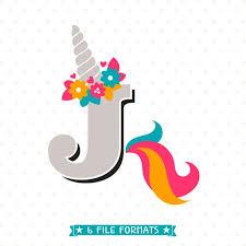 Letter J Svg Cut File Unicorn Monogram Svg Design Unicorn Etsy