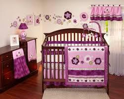 image of purple baby girl crib bedding
