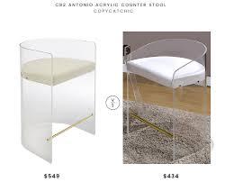 cb2 antonio counter stool 549 vs all modern clairmont acrylic stool 434 modern acrylic stool look
