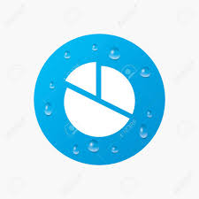 Water Drops On Button Pie Chart Graph Sign Icon Diagram Button