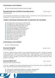 Resume Child Care Resume Examples