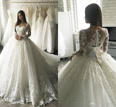 discount 2017 luxury lace applique long sleeve princess wedding