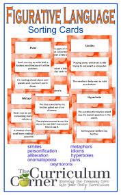 figurative language cards the curriculum corner  figurative language sorting cards from the curriculum corner similes metaphors personification