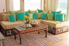 Moroccan Style Sofa in Reclaimed Wood eclectic-living-room