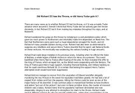 did richard iii lose the throne or did henry tudor gain it a  document image preview