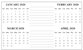 Month Of March Calendar 2020 Free January February March 2020 Calendar Printable
