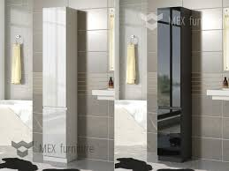 gloss tall bathroom storage 2 doors cabinet