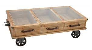 ... Coffee Table, Remarkable Light Brown Rectangle Industrial Wood Offee  Table On Casters On Wheels With ...