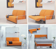 Wall Bed Sofa Combo Transforming Couch Lounge Bed Elegant Design Simple  Creative Collection Orange Furniture Sample Item