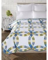 Amazing Deals on Blue and yellow bedding & Donna Sharp Arcadia Wedding Ring Full/Queen Quilt, 96