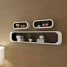 3 pcs White-Black MDF Floating Wall Display Shelf ... - Amazon.com