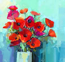 Peinture L Huile Nature Morte De Rouge Et De Rose Fleur De