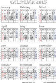 Vector Calendar 2019 United States Free Printable Pdf