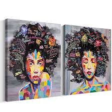 free cloud crescent art abstract pop black art african american wall art afro woman painting on canvas print wall picture for living room bedroom wall decor