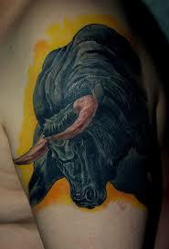фото тату бык в стиле реализм от мастера иван стороженко