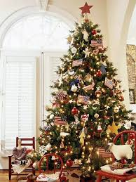 Traditional and typical American Christmas decoration artificial Christmas  tree for