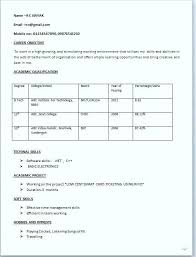 Resume Simple Format Classy Simple Resume Format Freshers Doc Standard Us Resumes For Mechan