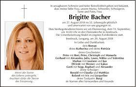 Traueranzeige Von Brigitte Bacher Vom 08092018