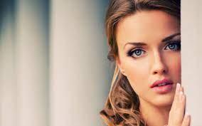 Wallpaper Girl pretty face, blue eyes ...
