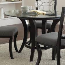 Round glass top dining table wood base 3